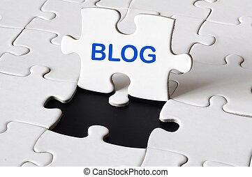 blog concpet with puzzle and copyspace