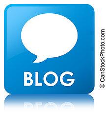 Blog (conversation icon) cyan blue square button