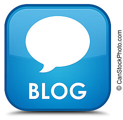 Blog (conversation icon) special cyan blue square button