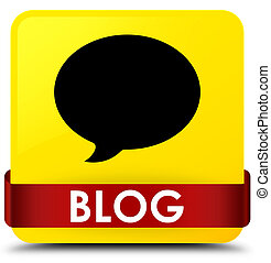 Blog (conversation icon) yellow square button red ribbon in middle