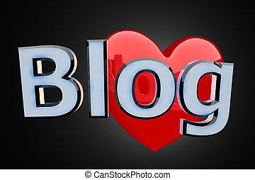 blog, cuore, rosso