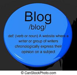 Blog Definition Button Showing Website Blogging Or Blogger -...