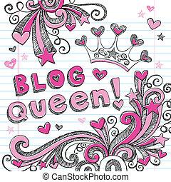 blog, doodles, sketchy, königin, tiara