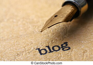 blog, e, caneta