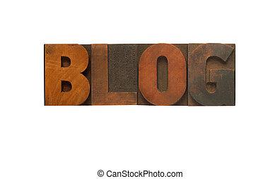 blog, em, madeira, tipo