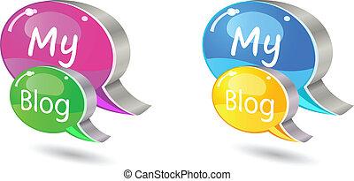 blog, ensemble, mot, bavarder, icône