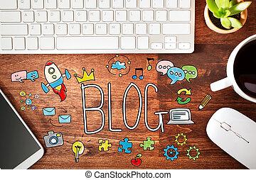 blog, estación de trabajo, concepto