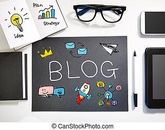 blog, estación de trabajo, concepto, negro, blanco