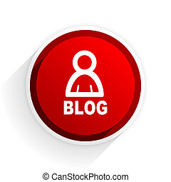 blog flat icon with shadow on white background, red modern design web element