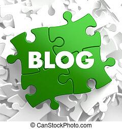 blog, grün, puzzle.