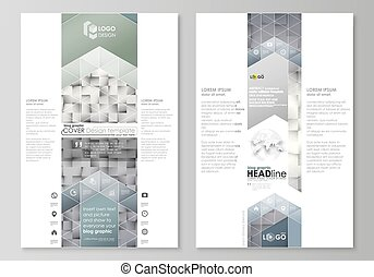 Blog graphic business templates. Page website design template, easy editable abstract vector layout. Pattern made from squares, gray background in geometrical style. Simple texture.