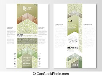 Blog graphic business templates. Page website design template, abstract flat layout. Green color background with leaves. Spa concept in linear style. Vector decoration for cosmetics, beauty industry.
