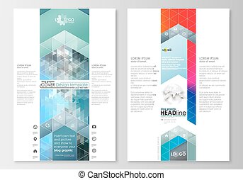 Blog graphic business templates. Page website design template, easy editable, flat layout. Abstract triangles, blue triangular background, modern colorful polygonal vector.