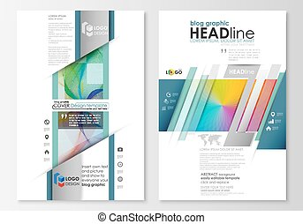 Blog graphic business templates. Page website template, easy editable, flat layout, vector illustration. Colorful design background with abstract shapes and waves, overlap effect.