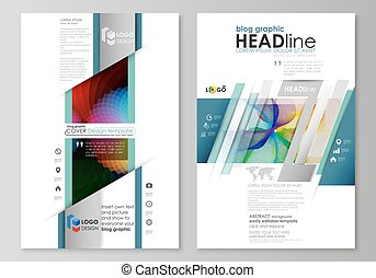 Blog graphic business templates. Page website template, flat vector layout. Colorful design with overlapping geometric shapes and waves forming abstract beautiful background.