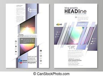 blog, graphique, business, templates., page, site web, gabarit, facile, editable, résumé, vecteur, layout., retro style, mystique, sci-fi, arrière-plan., futuriste, branché, design.