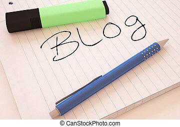Blog - handwritten text in a notebook on a desk - 3d render...