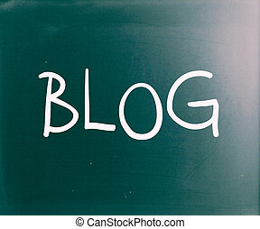 """Blog"" handwritten with white chalk on a blackboard"