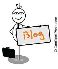 blog, hombre de negocios, bandera