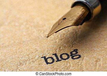 blog, i, pióro