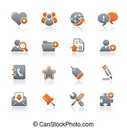 blog, &, icônes internet, /, graphite