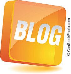 Blog Icon. - Blog 3d icon. Vector illustration.