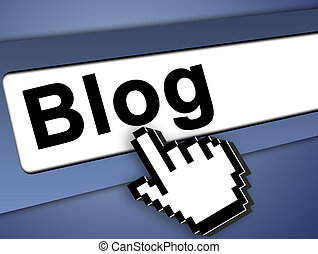 blog icon - Blog Graphic bar with mouse pointer , on blue...