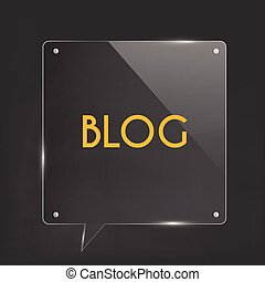 Blog Icon Glass Illustration - Glass blog chat bubble...