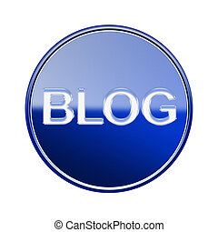 Blog icon glossy blue, isolated on white background