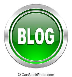 blog icon, green button