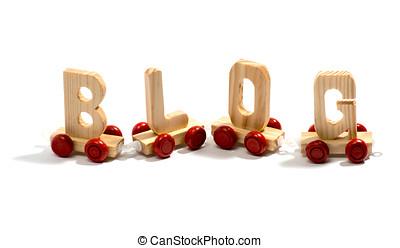 Blog in wooden lettering on wheels