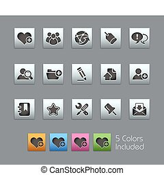 The EPS file includes 5 color versions for each icon in different layers.