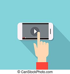 blog, jugador, cima, teléfono celular, vídeo, elegante, ...