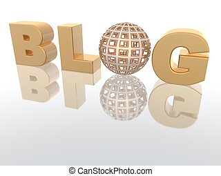 "Blog letters - a 3d rendering of the word \""BLOG\\\"""