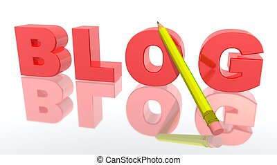 "a 3d rendering to illustrate the word ""BLOG"""