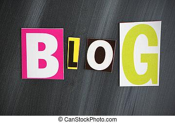 """""""BLOG"""" letters on Chalkboard"""