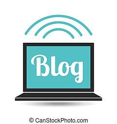 blog, média, laptop, társadalmi, háló