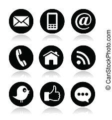 blog, mídia, contato, teia, social