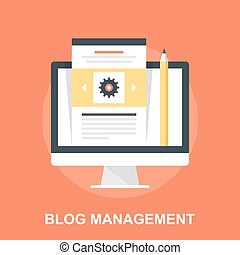 Blog Management - Vector illustration of blog management...