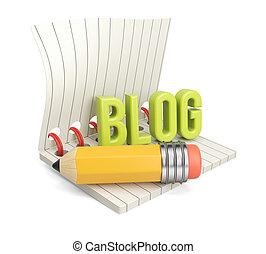 blog, matita, parola, blocco note