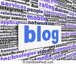 Blog message conceptual design. Social media promotion...