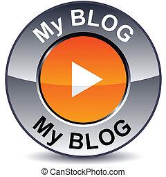 blog, mi, redondo, button.