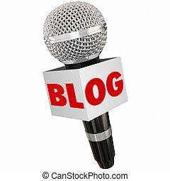 Blog Microphone Box Share Opinion Communication