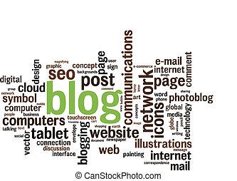 blog, mot, nuage
