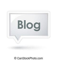 blog, mot, sur, a, bulle discours