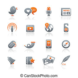 Blog & New Media / Graphite Series - Vector icons for your...