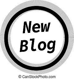 blog, nieuw, witte , postzegel