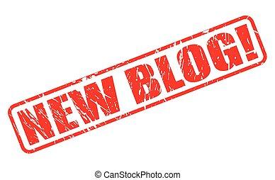 blog, nuovo, francobollo, rosso, testo