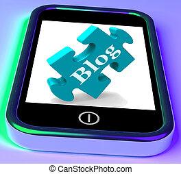 Blog On Phone Showing Mobile Blogging Or Weblog Website