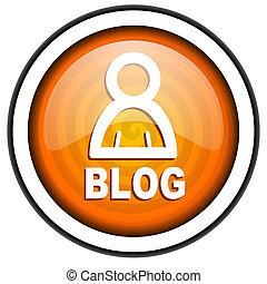 blog orange glossy icon isolated on white background